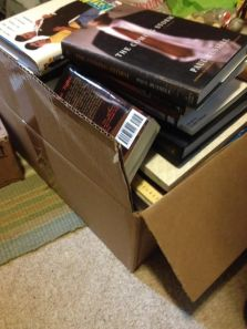 Box of books ready to be donated!